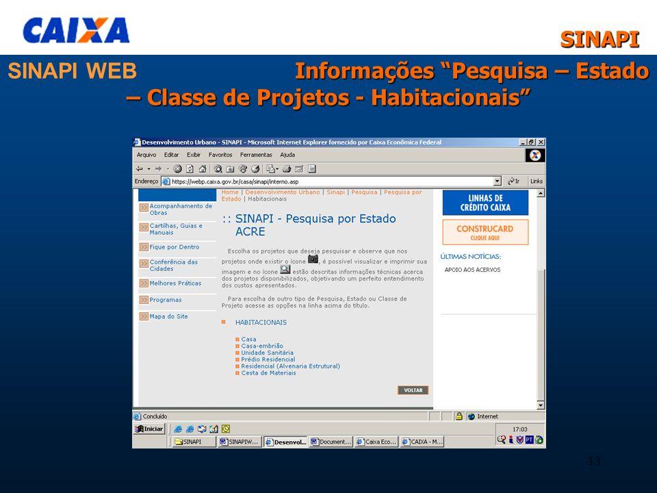 SINAPI WEB Informações Pesquisa – Estado – Classe de Projetos - Habitacionais