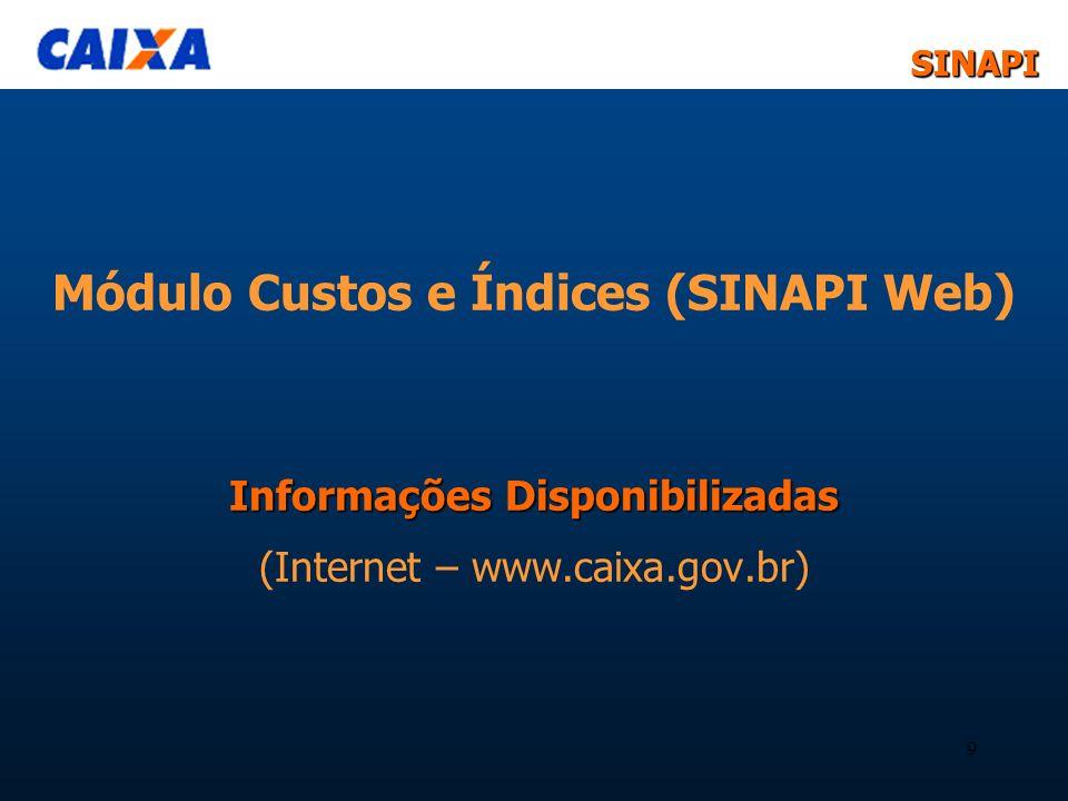 Módulo Custos e Índices (SINAPI Web) Informações Disponibilizadas (Internet – www.caixa.gov.br)