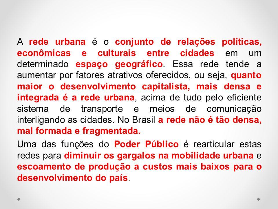 A rede urbana é o conjunto de relações políticas, econômicas e culturais entre cidades em um determinado espaço geográfico.
