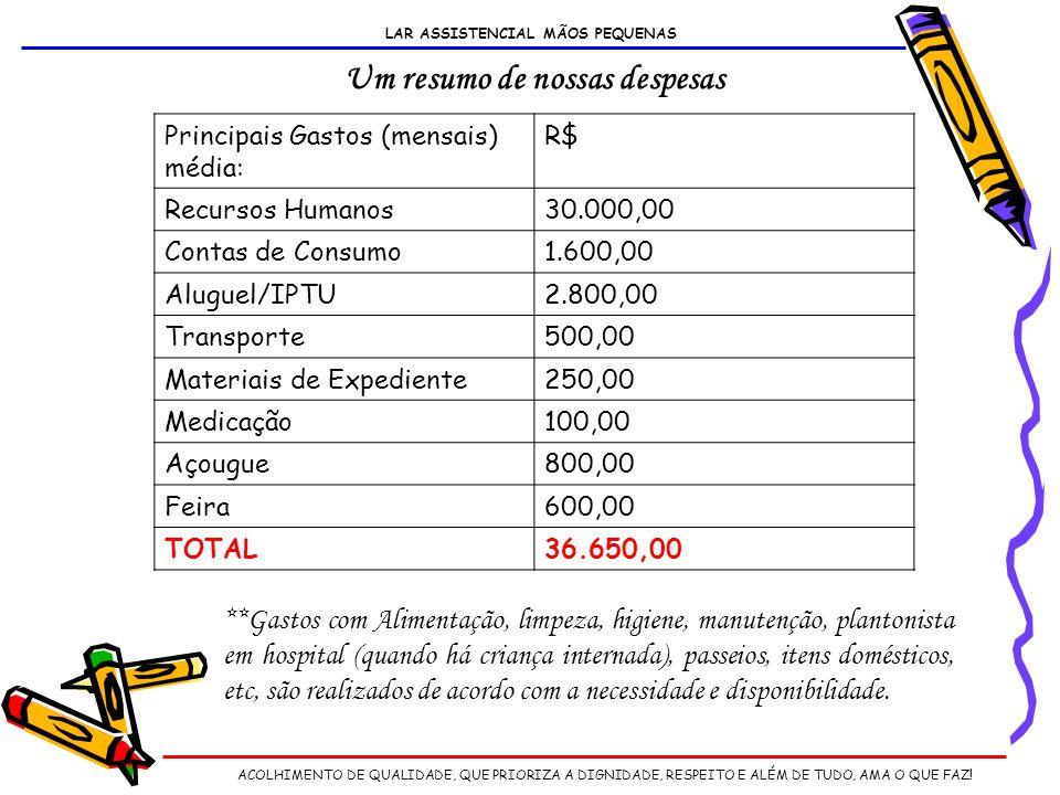 LAR ASSISTENCIAL MÃOS PEQUENAS Um resumo de nossas despesas