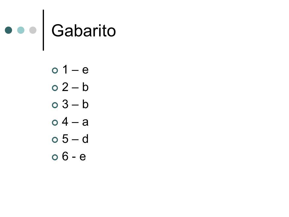 Gabarito 1 – e 2 – b 3 – b 4 – a 5 – d 6 - e