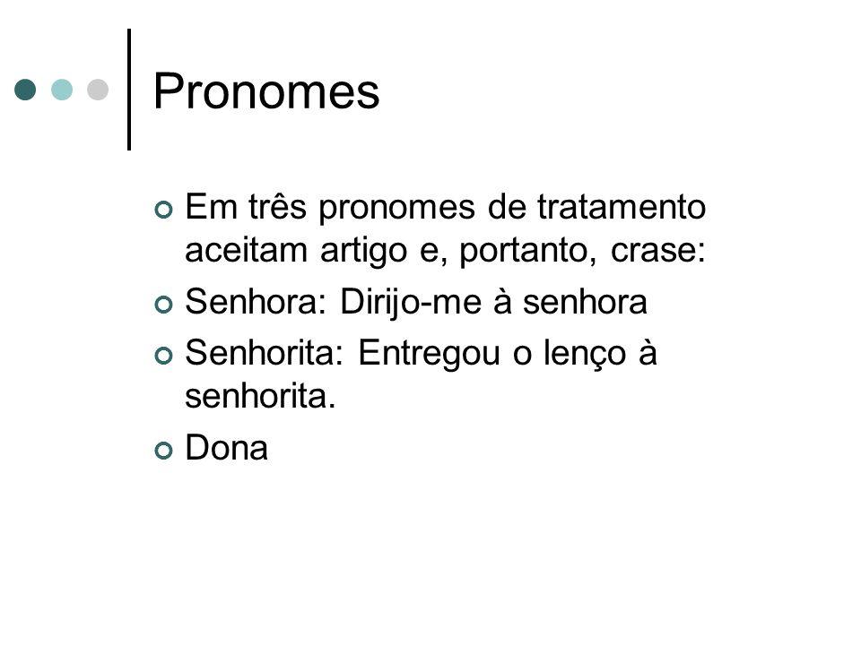 Pronomes Em três pronomes de tratamento aceitam artigo e, portanto, crase: Senhora: Dirijo-me à senhora.