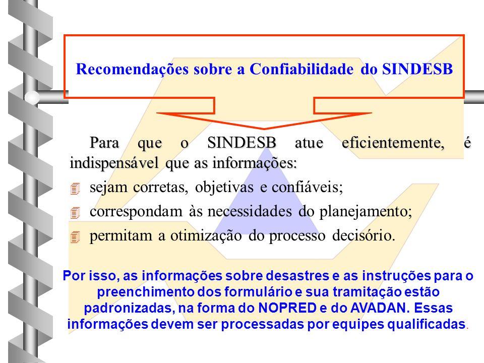 Recomendações sobre a Confiabilidade do SINDESB