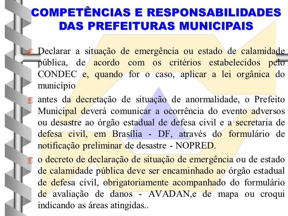 COMPETÊNCIAS E RESPONSABILIDADES DAS PREFEITURAS MUNICIPAIS