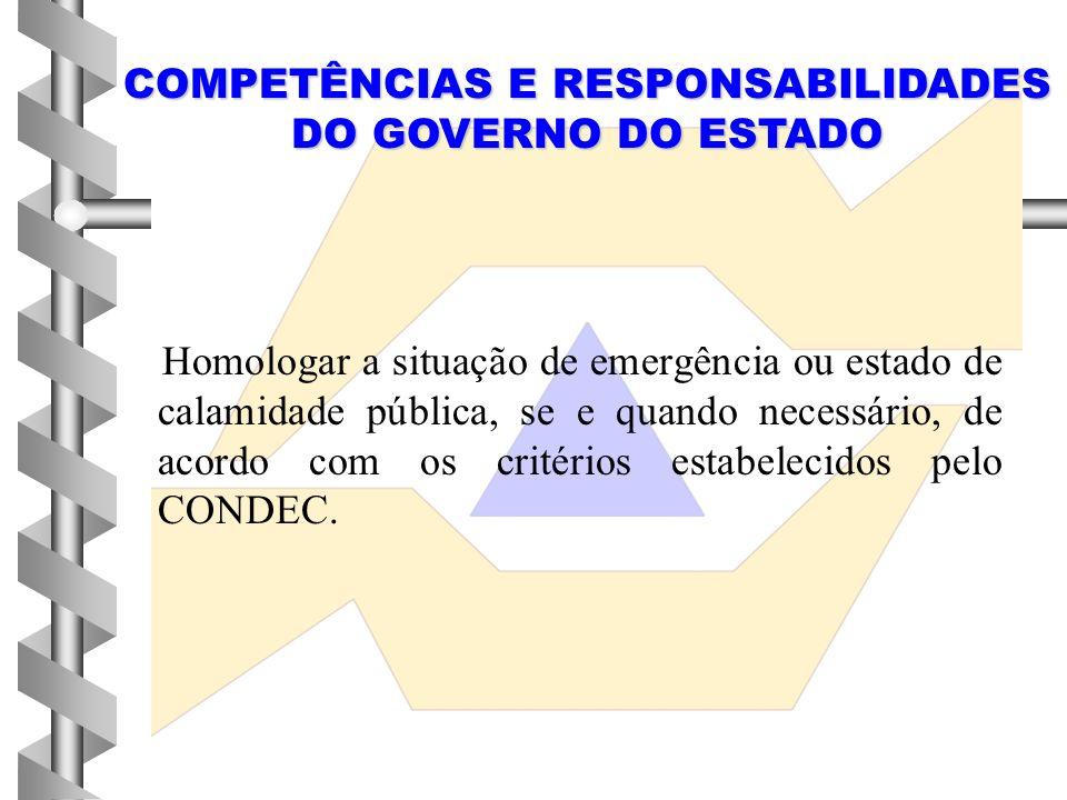 COMPETÊNCIAS E RESPONSABILIDADES DO GOVERNO DO ESTADO
