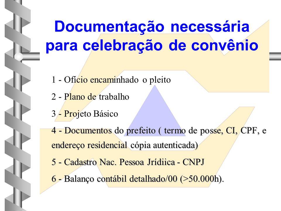 Documentação necessária para celebração de convênio