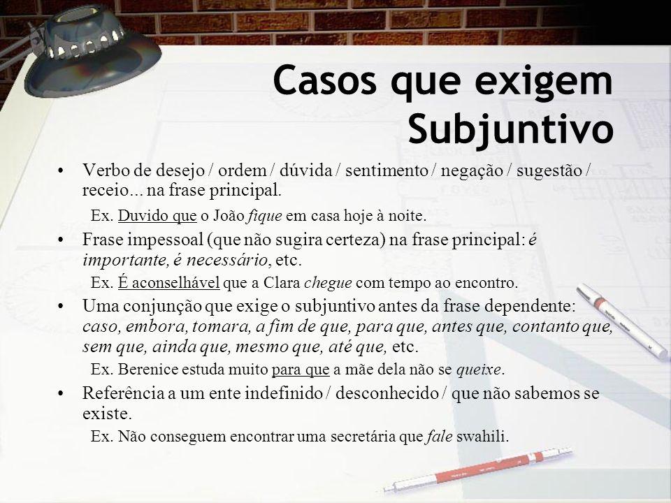 Casos que exigem Subjuntivo