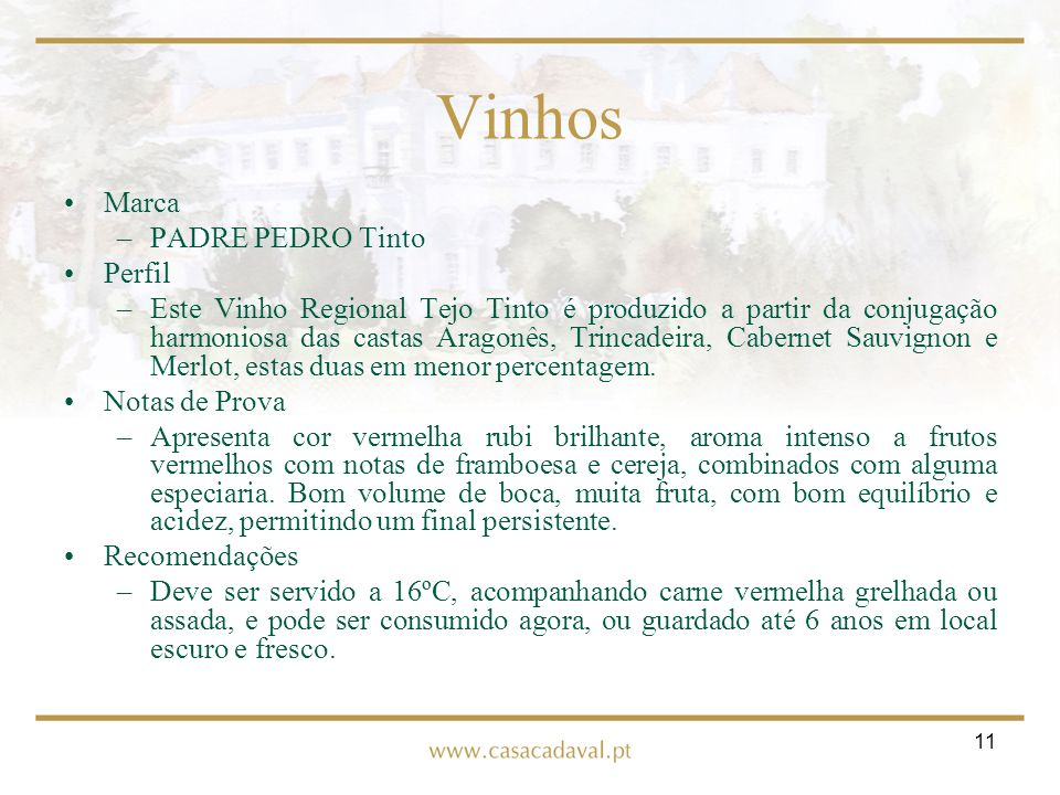 Vinhos Marca PADRE PEDRO Tinto Perfil