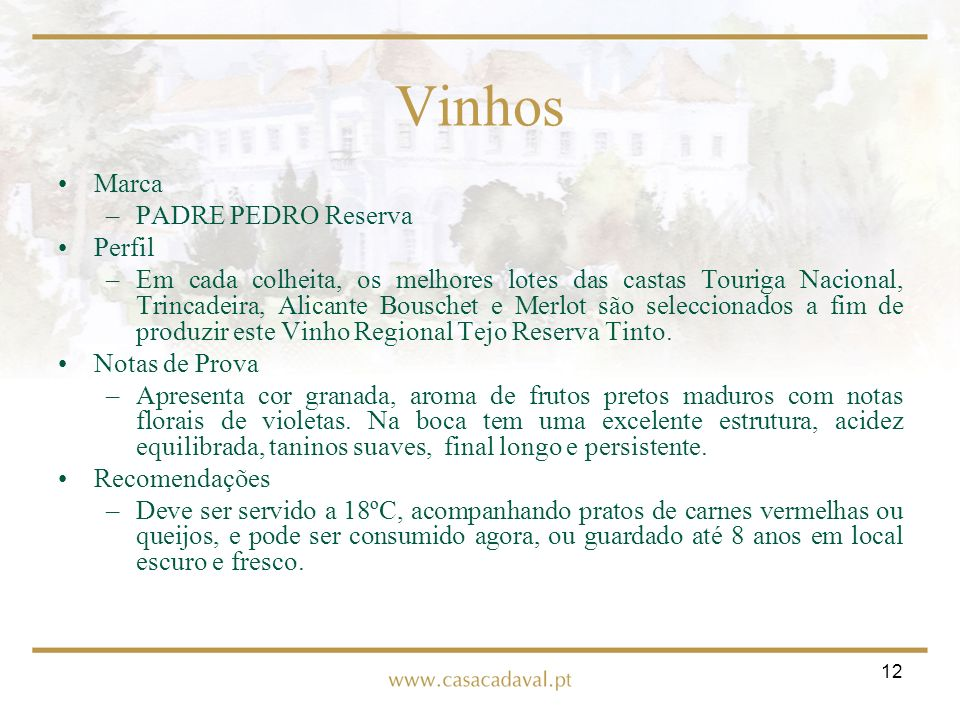 Vinhos Marca PADRE PEDRO Reserva Perfil