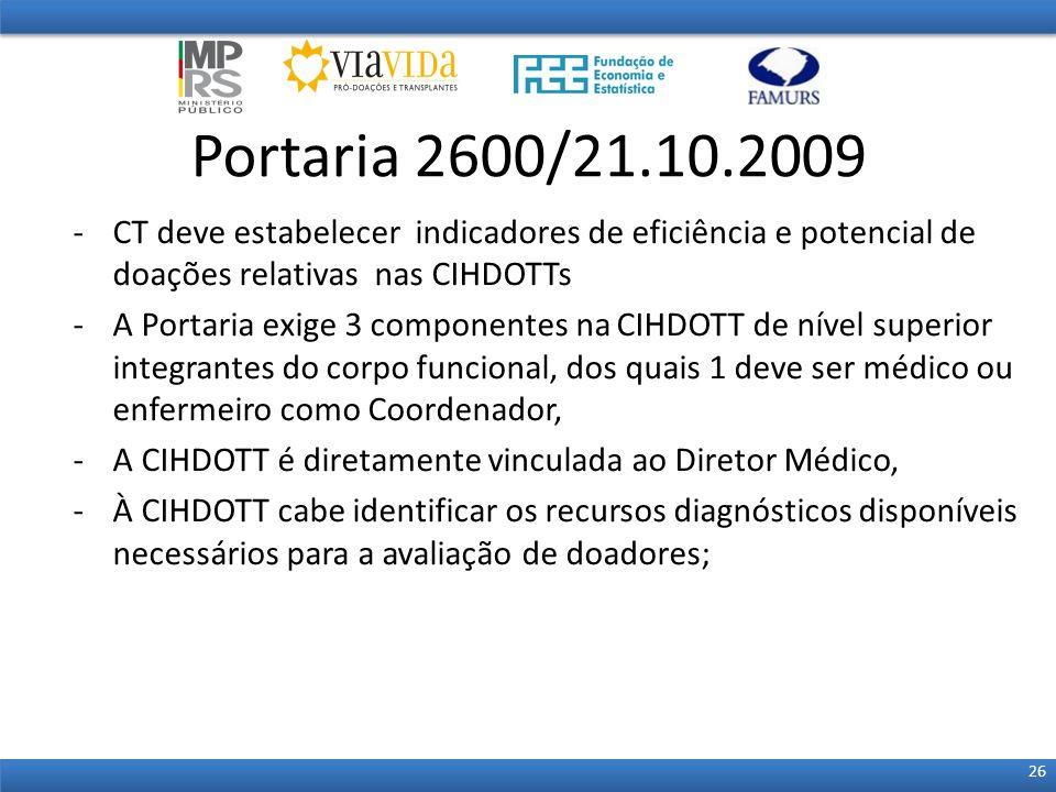Portaria 2600/21.10.2009 CT deve estabelecer indicadores de eficiência e potencial de doações relativas nas CIHDOTTs.