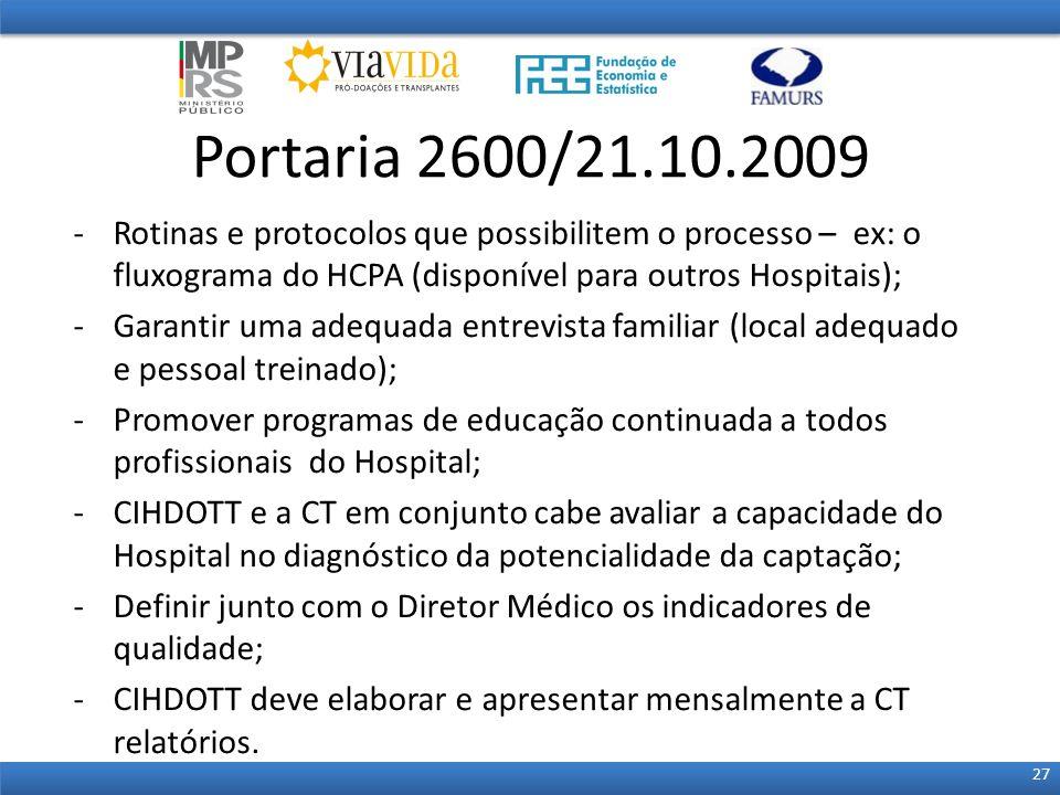 Portaria 2600/21.10.2009 Rotinas e protocolos que possibilitem o processo – ex: o fluxograma do HCPA (disponível para outros Hospitais);