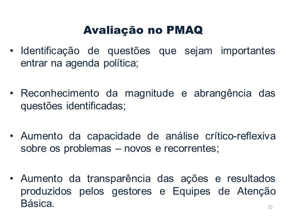 Avaliação no PMAQ Identificação de questões que sejam importantes entrar na agenda política;