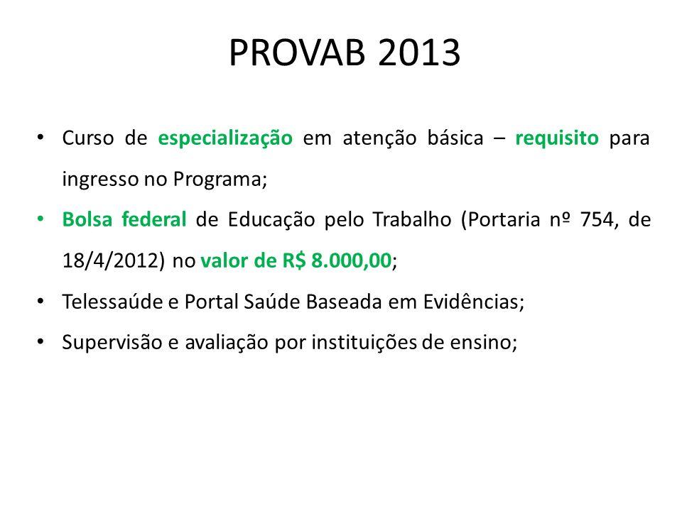 PROVAB 2013 Curso de especialização em atenção básica – requisito para ingresso no Programa;