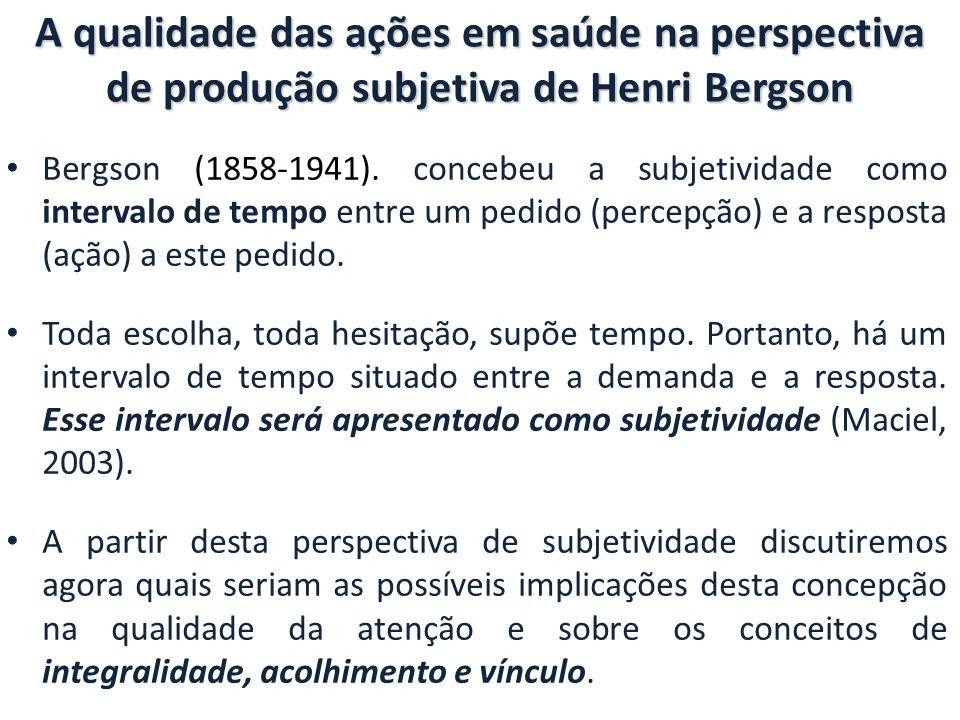 A qualidade das ações em saúde na perspectiva de produção subjetiva de Henri Bergson