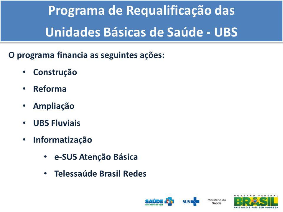 Programa de Requalificação das Unidades Básicas de Saúde - UBS