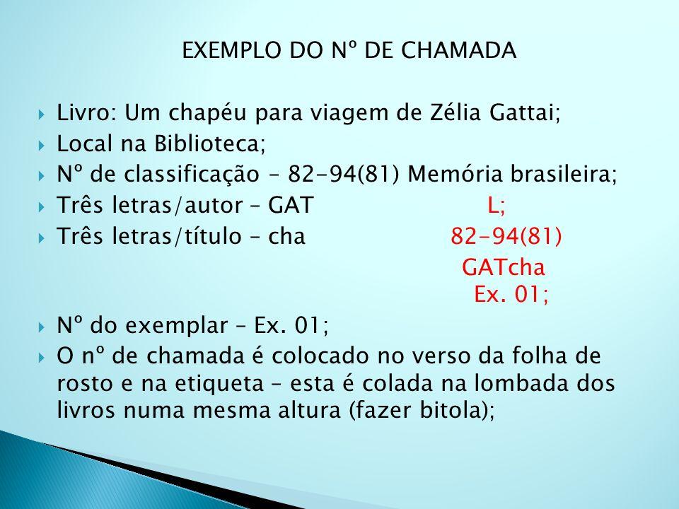EXEMPLO DO Nº DE CHAMADA