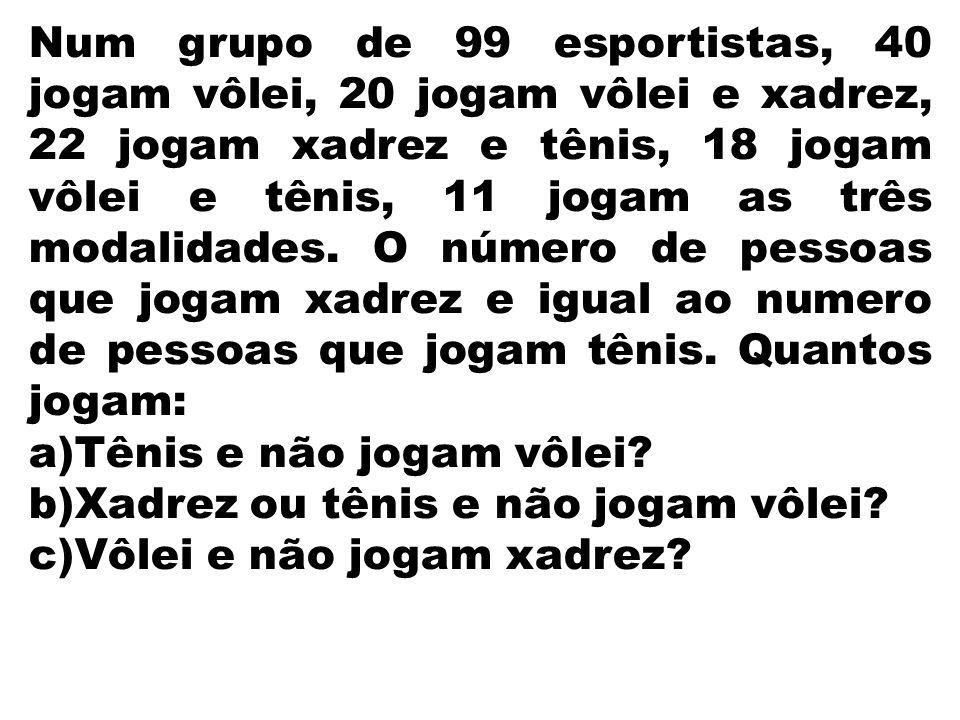 Num grupo de 99 esportistas, 40 jogam vôlei, 20 jogam vôlei e xadrez, 22 jogam xadrez e tênis, 18 jogam vôlei e tênis, 11 jogam as três modalidades. O número de pessoas que jogam xadrez e igual ao numero de pessoas que jogam tênis. Quantos jogam: