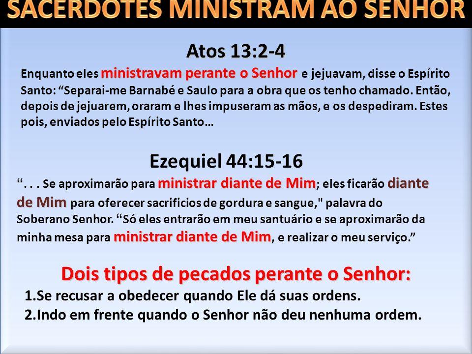 SACERDOTES MINISTRAM AO SENHOR Dois tipos de pecados perante o Senhor: