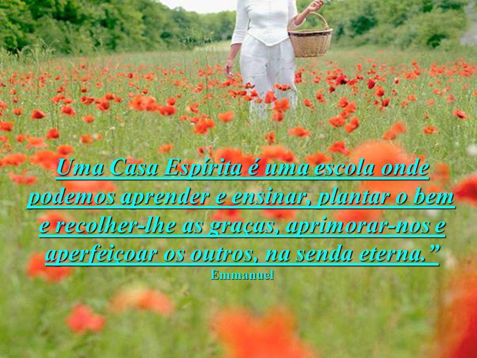 Uma Casa Espírita é uma escola onde podemos aprender e ensinar, plantar o bem e recolher-lhe as graças, aprimorar-nos e aperfeiçoar os outros, na senda eterna. Emmanuel
