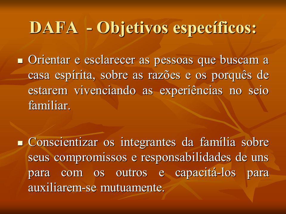 DAFA - Objetivos específicos: