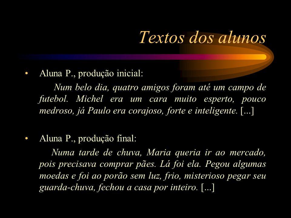 Textos dos alunos Aluna P., produção inicial: