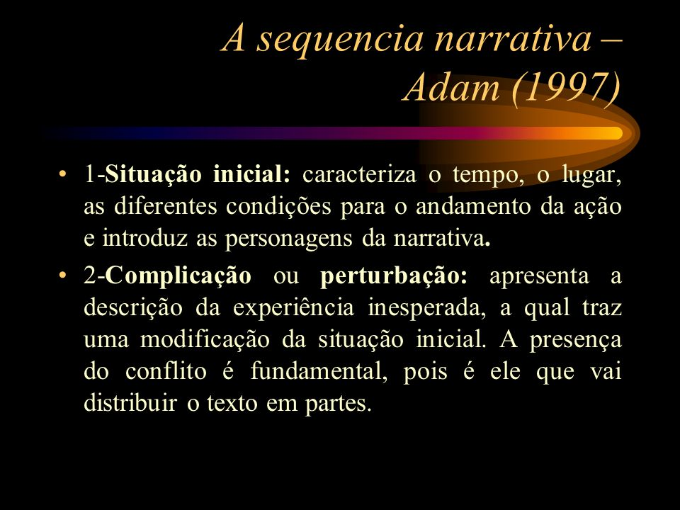 A sequencia narrativa – Adam (1997)