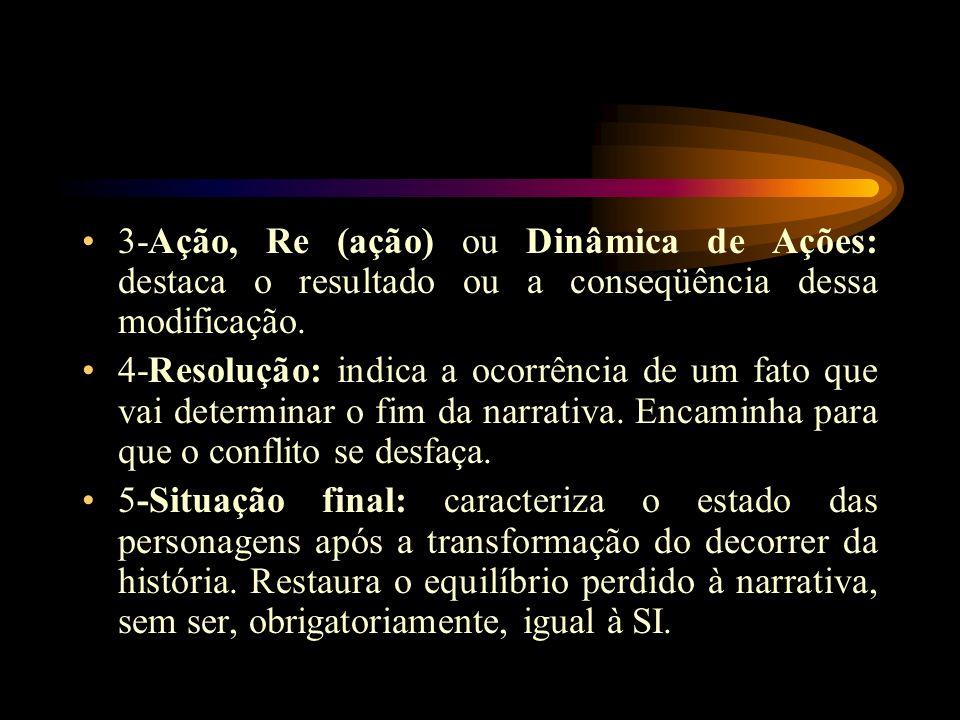 3-Ação, Re (ação) ou Dinâmica de Ações: destaca o resultado ou a conseqüência dessa modificação.