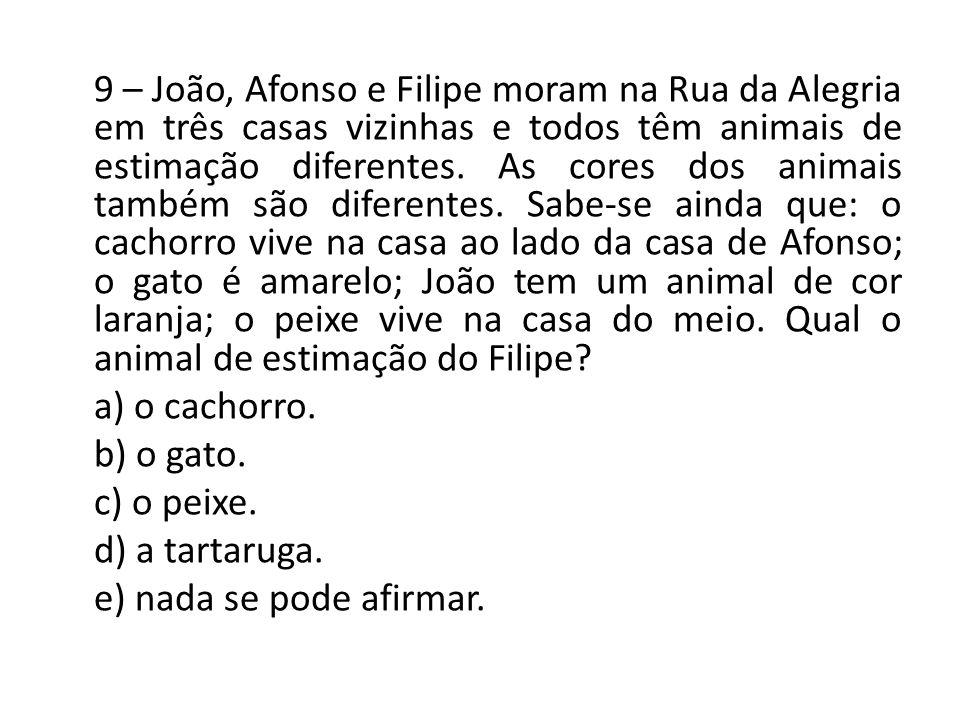 9 – João, Afonso e Filipe moram na Rua da Alegria em três casas vizinhas e todos têm animais de estimação diferentes.