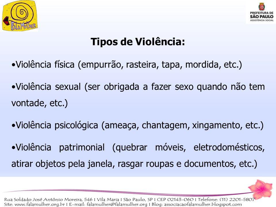 Tipos de Violência: Violência física (empurrão, rasteira, tapa, mordida, etc.)