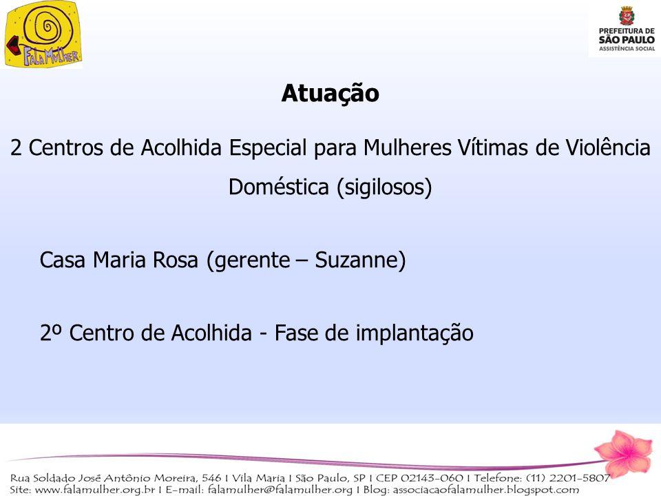 Atuação 2 Centros de Acolhida Especial para Mulheres Vítimas de Violência Doméstica (sigilosos) Casa Maria Rosa (gerente – Suzanne)