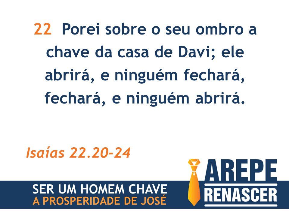 22 Porei sobre o seu ombro a chave da casa de Davi; ele abrirá, e ninguém fechará, fechará, e ninguém abrirá.