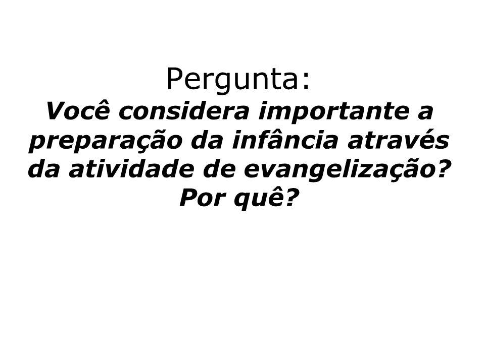 Pergunta: Você considera importante a preparação da infância através da atividade de evangelização.