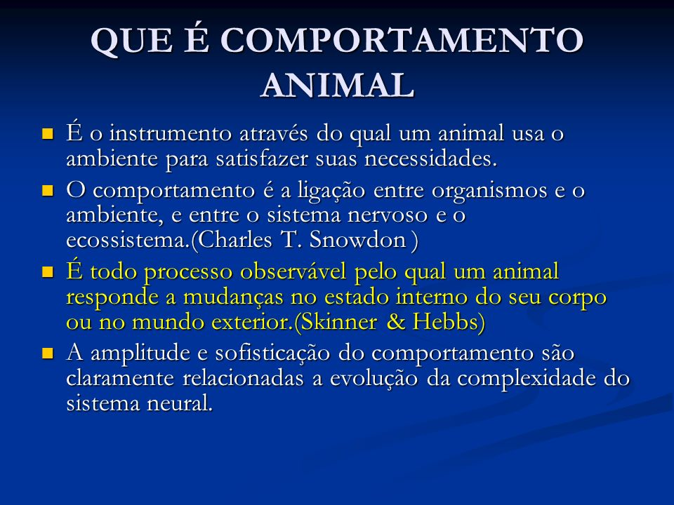 QUE É COMPORTAMENTO ANIMAL
