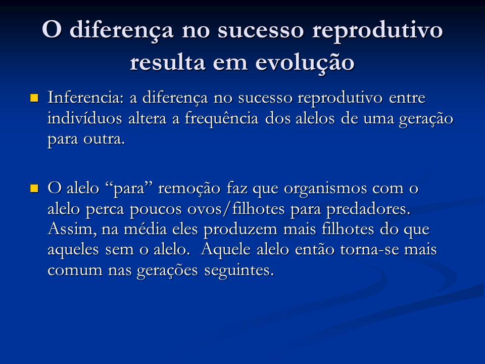 O diferença no sucesso reprodutivo resulta em evolução