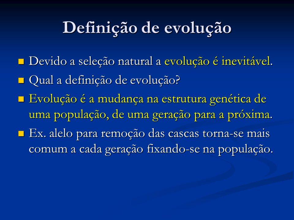 Definição de evolução Devido a seleção natural a evolução é inevitável. Qual a definição de evolução