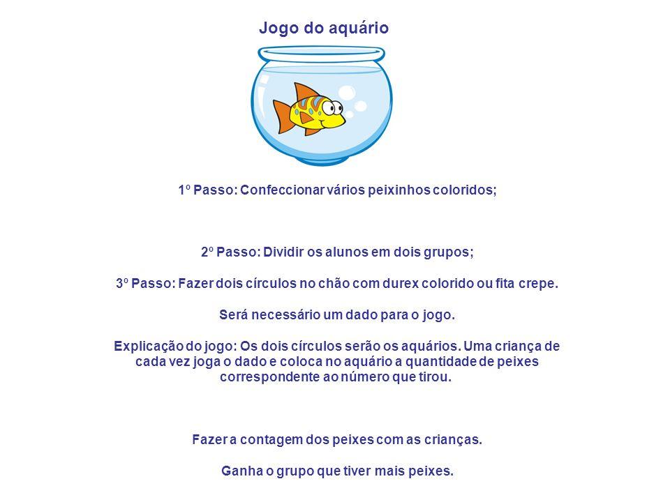 1º Passo: Confeccionar vários peixinhos coloridos;