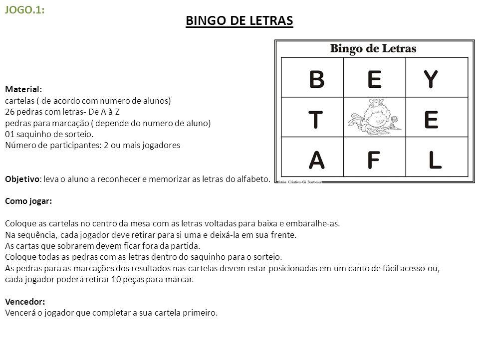 BINGO DE LETRAS JOGO.1:
