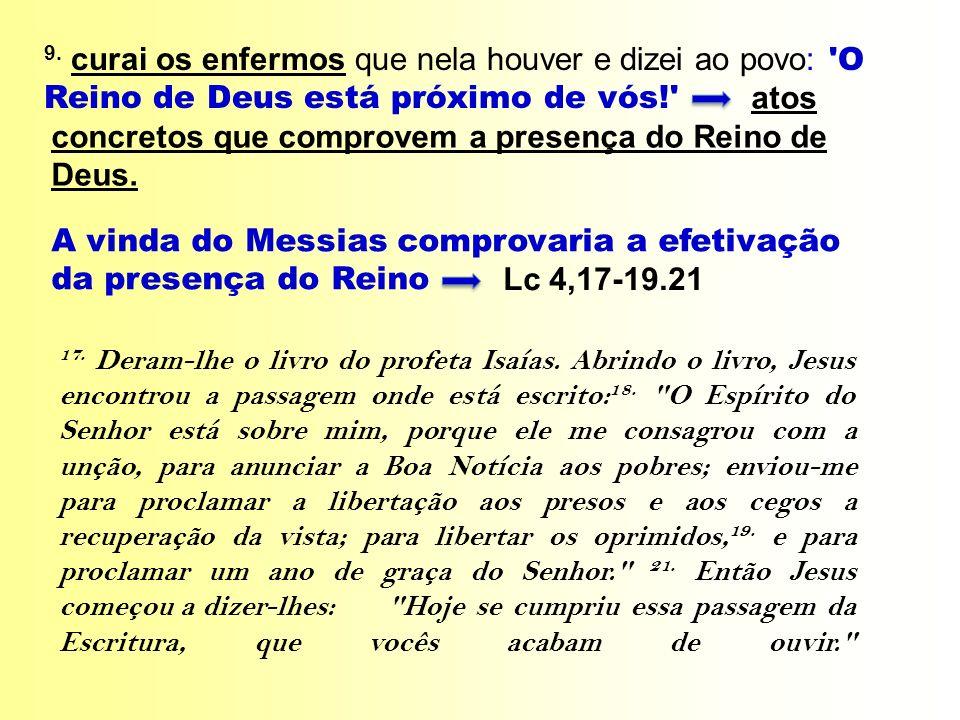 A vinda do Messias comprovaria a efetivação da presença do Reino