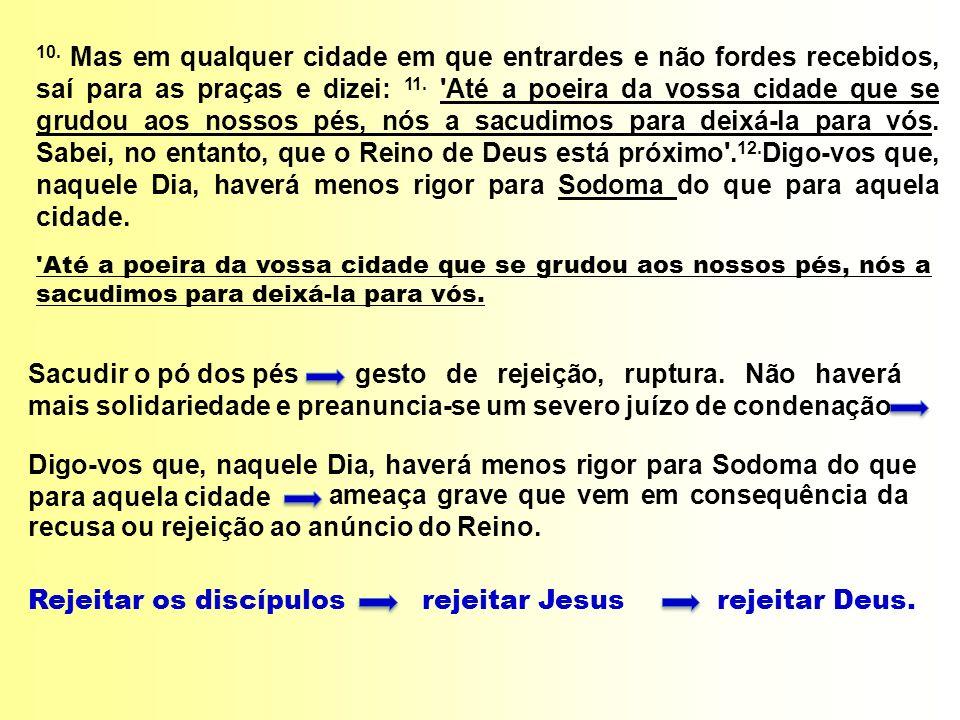 Rejeitar os discípulos rejeitar Jesus