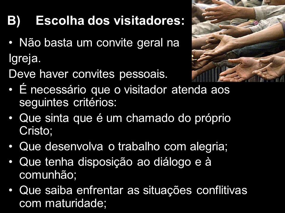 B) Escolha dos visitadores: