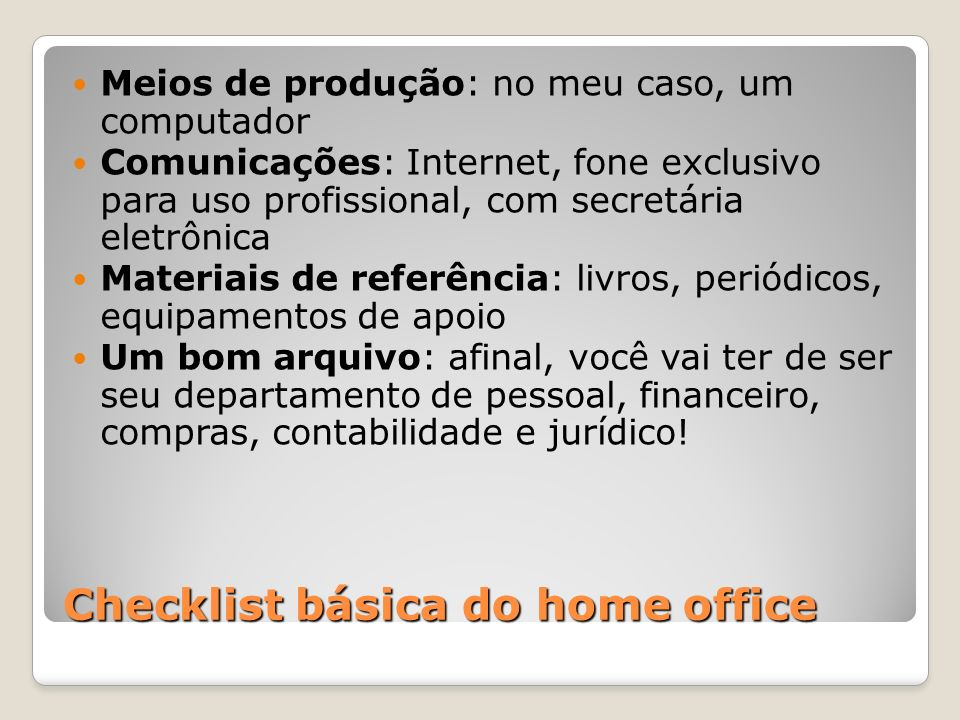 Checklist básica do home office