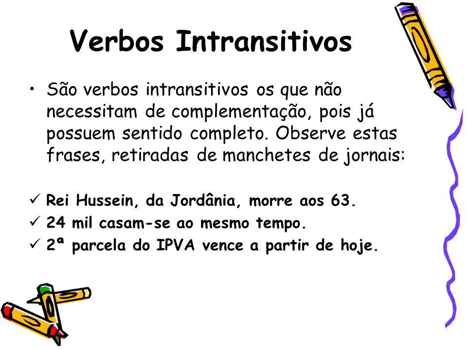 Verbos Intransitivos