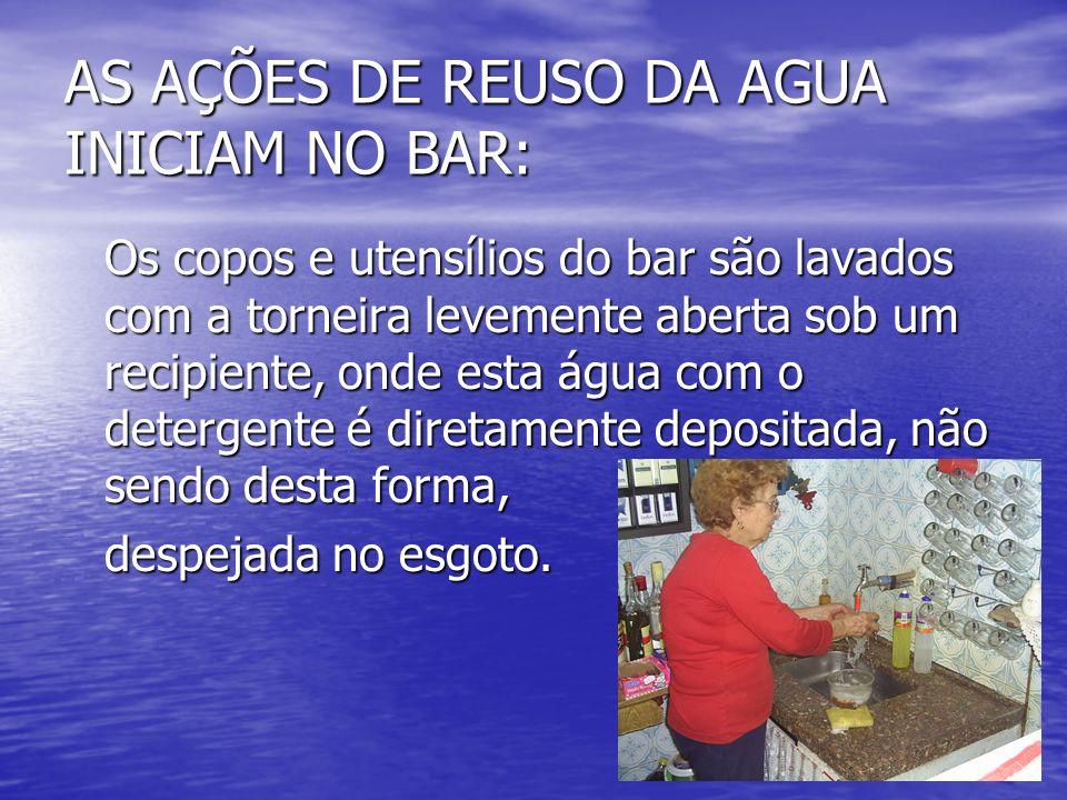 AS AÇÕES DE REUSO DA AGUA INICIAM NO BAR: