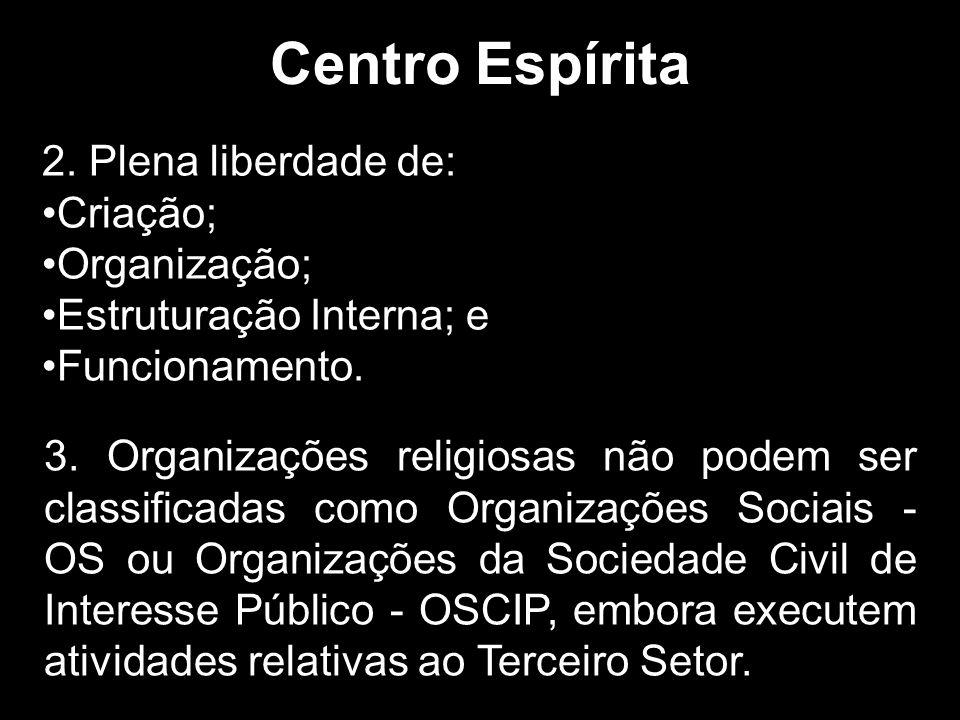 Centro Espírita 2. Plena liberdade de: Criação; Organização;