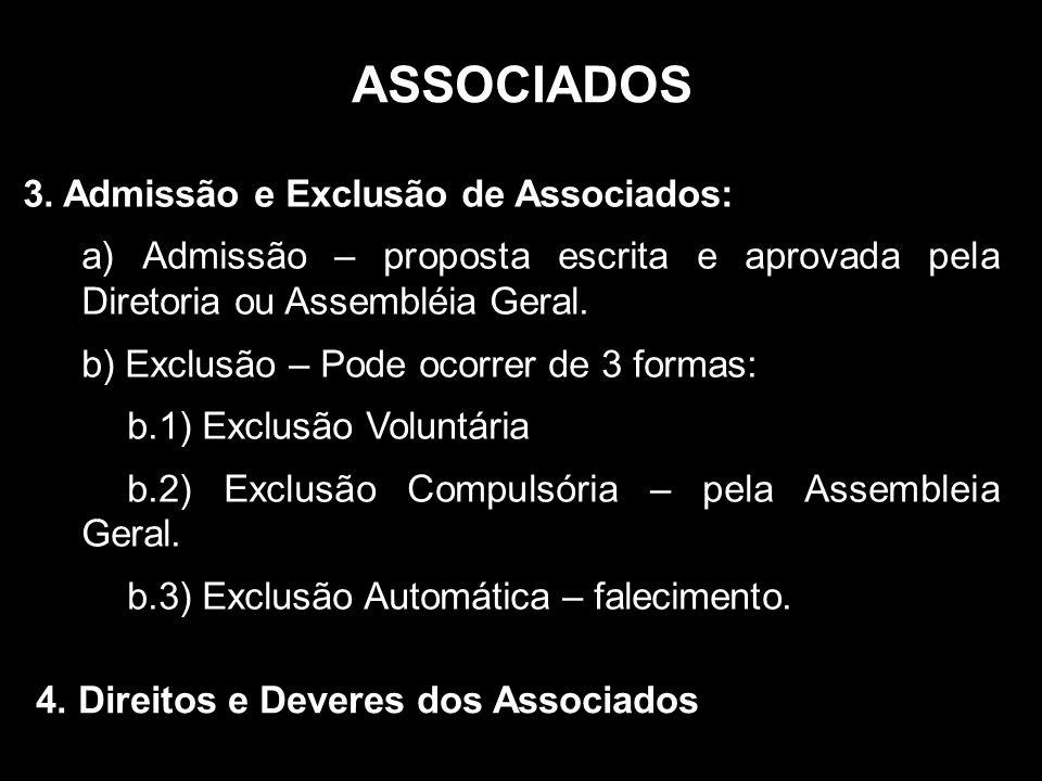 ASSOCIADOS 3. Admissão e Exclusão de Associados: