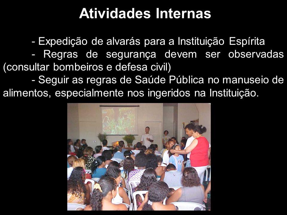 Atividades Internas - Expedição de alvarás para a Instituição Espírita.