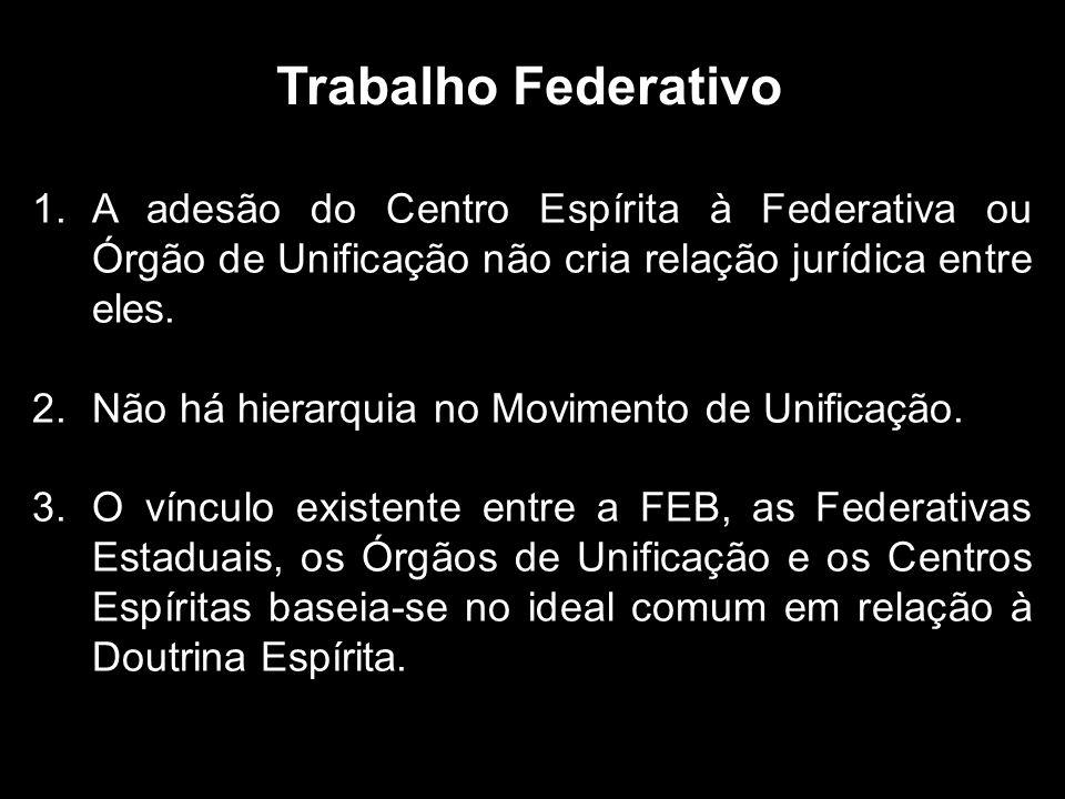 Trabalho Federativo A adesão do Centro Espírita à Federativa ou Órgão de Unificação não cria relação jurídica entre eles.