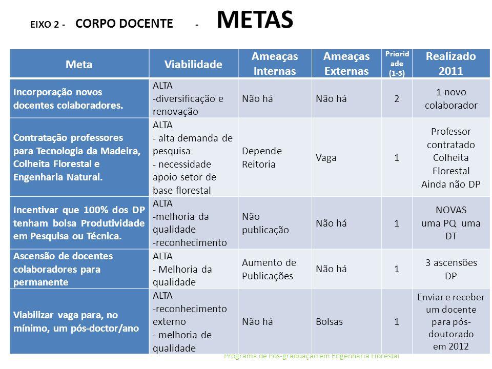 EIXO 2 - CORPO DOCENTE - METAS