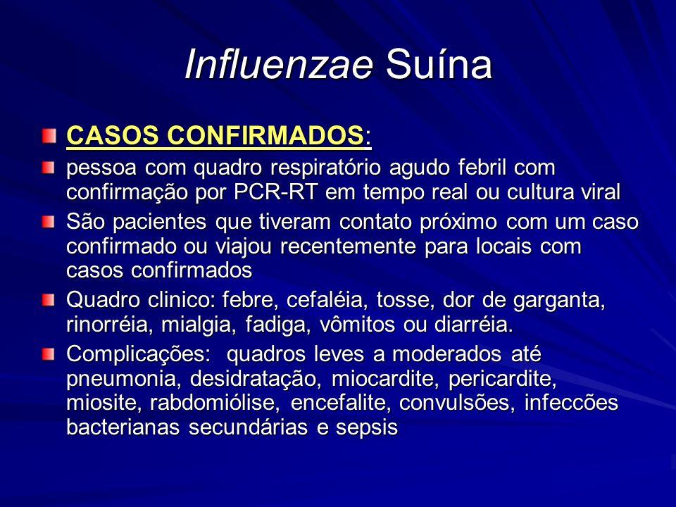 Influenzae Suína CASOS CONFIRMADOS: