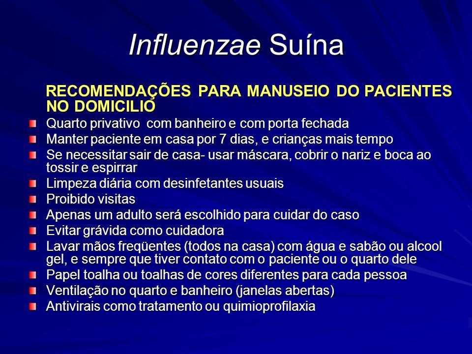 Influenzae Suína RECOMENDAÇÕES PARA MANUSEIO DO PACIENTES NO DOMICILIO